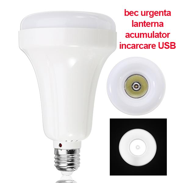Bec inteligent cu acumulator, lanterna si lampa de urgenta, 15W, incarcare USB-Powerbank, alb rece