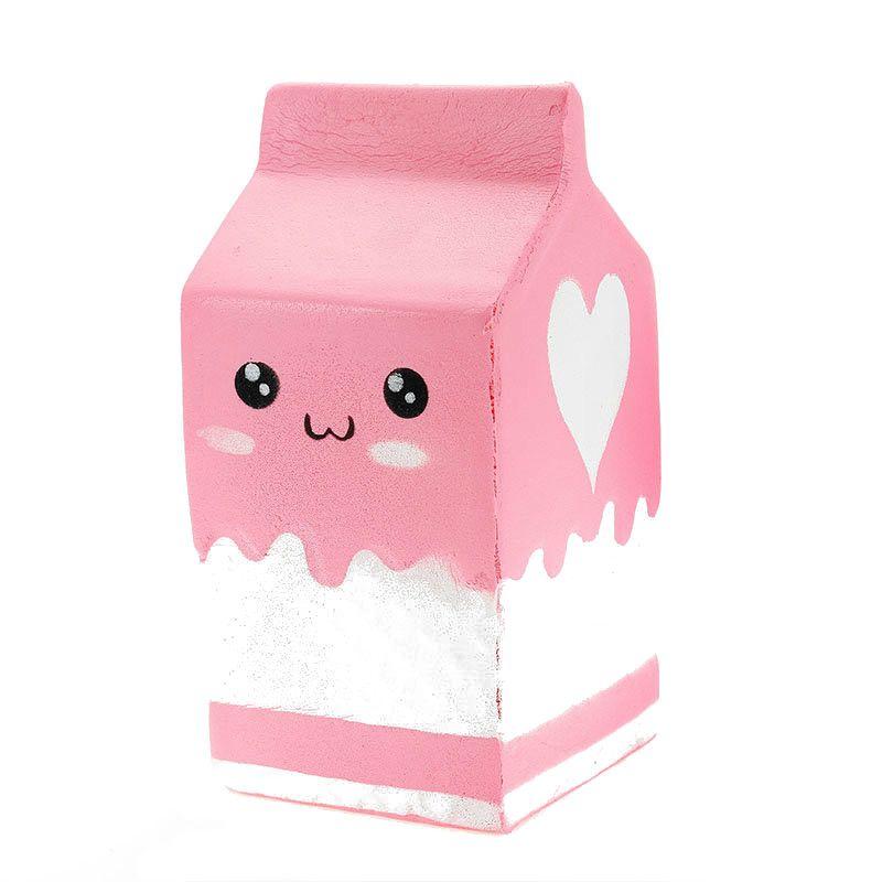 SQUISHY-Cutie de lapte-roz-Jucarie cu revenire lenta la forma initiala